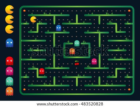 Modern Pacman Video Game User Interface - Blue Game Screen Maze