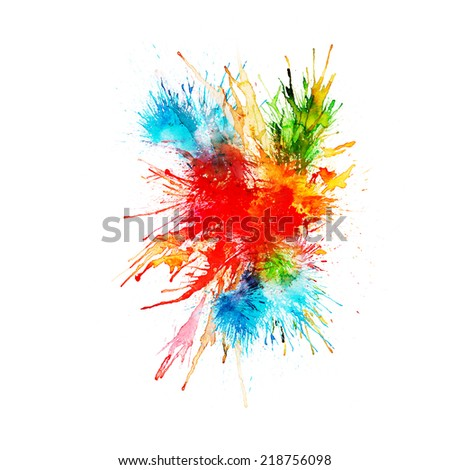 Modern painting - abstract watercolor background - splashes, drops on paper or canvas, vector