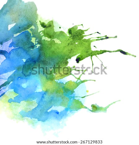 modern painting - bright green and blue abstract watercolor background on canvas or paper - vector illustration