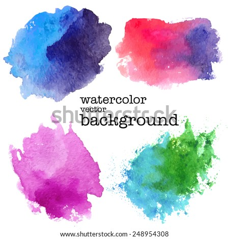 modern painting - set of abstract colorful (blue, pink, green) watercolor backgrounds on white canvas or paper - hand paint vector illustration - stock vector