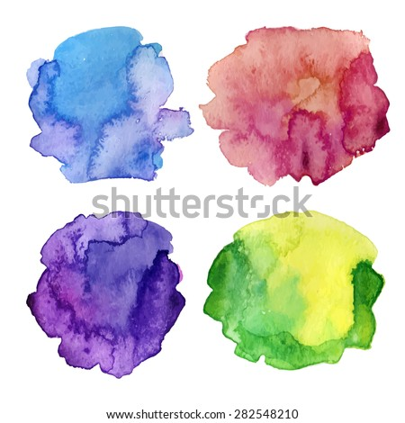 modern painting - set of abstract colorful (blue, red, green) watercolor backgrounds on white canvas or paper - hand paint vector illustration - stock vector