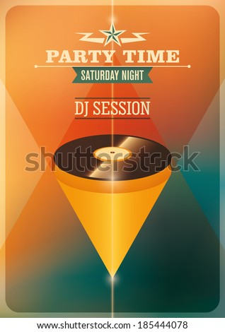 Modern party time poster with vinyl. Vector illustration.  - stock vector