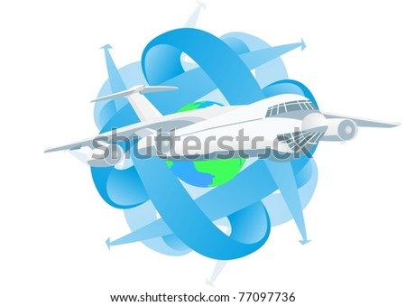 Modern passenger airliner in the background of the Globe and abstract images of arrows pointing different directions. - stock vector