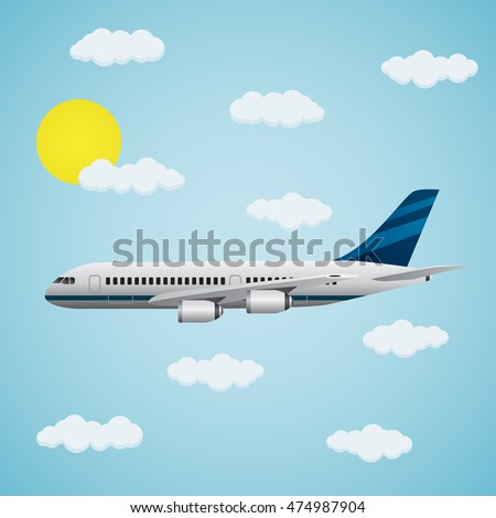 Modern passenger airplane with clouds on a blue background. The concept of travel.