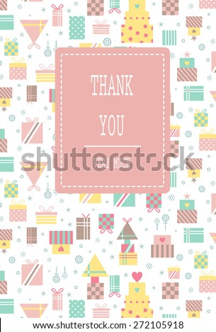 Modern pattern of gifts with dots and stripes. Stars and candies scattered in intervals. Suitable for invitation,  birthday, baby shower, valentine's day and mother's day. Thank you lettering  - stock vector