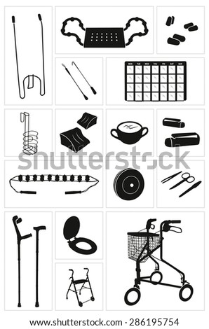 Modern physiotherapy equipment and supplies - set 4 Icons