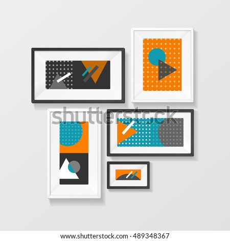 Modern Picture Frame interior decor Set Hanging on Wall for the House and Office. Vector illustration of home decoration pictures