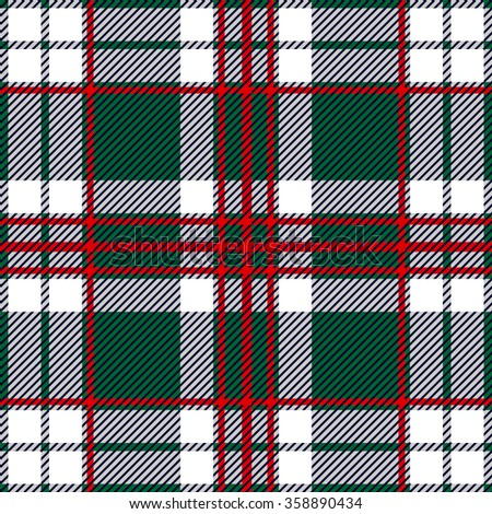Modern plaid seamless checkered vector pattern. Retro textile collection. Green, gray, white with red stripes. Backgrounds & textures shop.  - stock vector