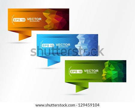 modern polygonal  banner set - stock vector