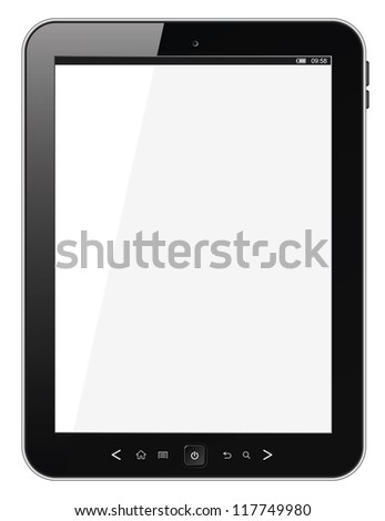 Modern portable touch pad device. Realistic black tablet pc computer with blank screen isolated on white background. Vector illustration