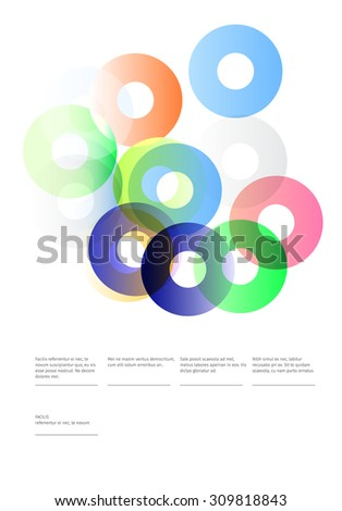 Modern poster design. A composition of colourful semi-transparent circles and information header and some text. Template for Banners, Flyers, Invitations and Posters.