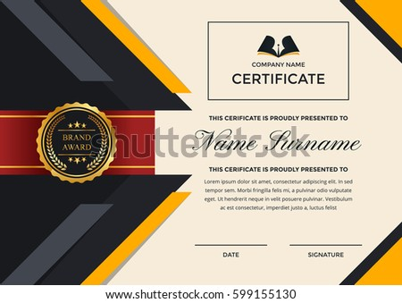 Modern premium company certificate achievement appreciation stock modern premium company certificate of achievement and appreciation template with logo yadclub Choice Image