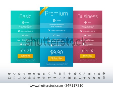 Modern pricing list with 3 options in turquoise, blue and raspberry color. Set of icons included - stock vector