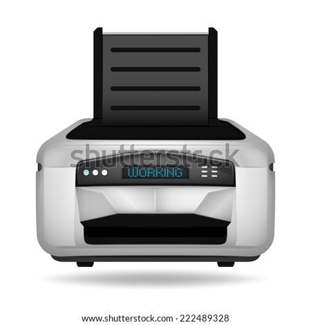 modern printer electronic device vector object illustration