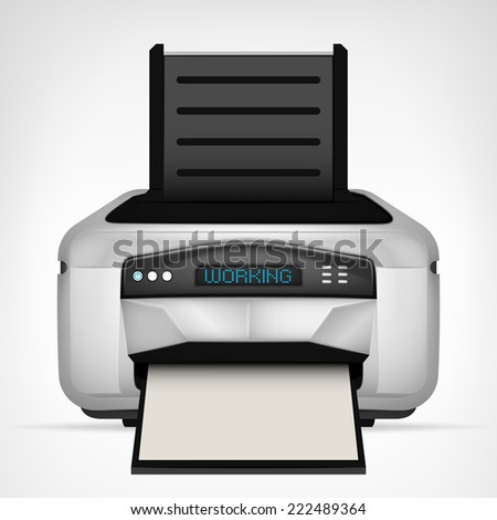 modern printer with blank paper down vector object illustration