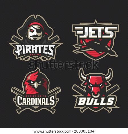 Modern professional baseball logo set for sport team - stock vector