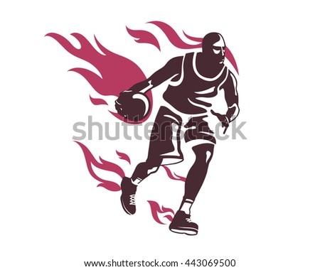 Modern Professional Basketball Player In Action Logo - On Fire Cross Over