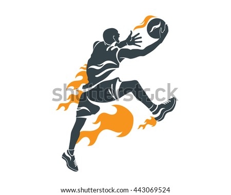 Modern Professional Basketball Player In Action Logo - Power Lay Up