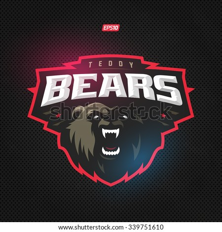 Modern professional grizzly bear logo for a sport team - stock vector