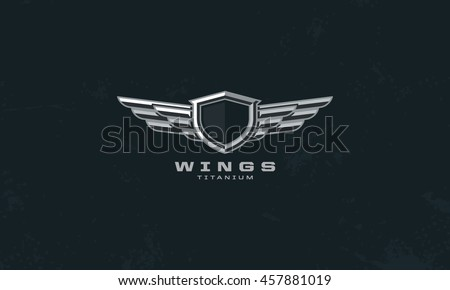 Modern Professional Metal Wings Shield Template Stock Vector - Car sign with wings