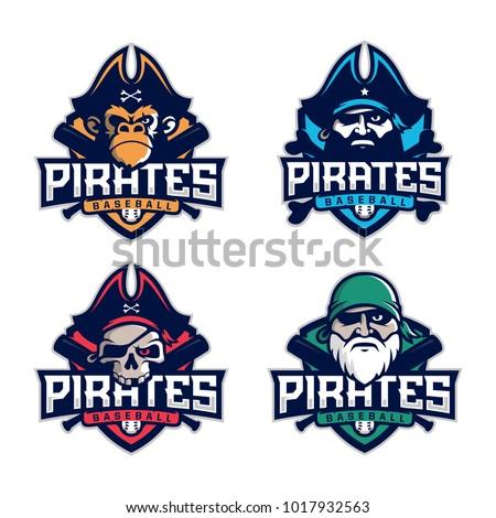 Modern Professional Set Emblem Pirates Baseball Stock Vector