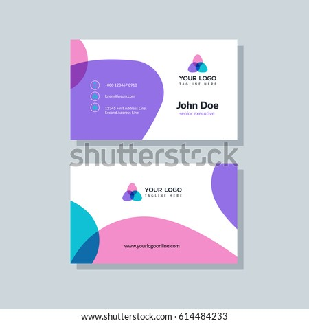 Modern purple business card template flat stock photo photo vector modern purple business card template in flat design abstract background personal plain design with colourmoves