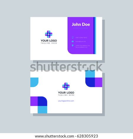 Modern Purple Business Card Template In Flat Design Abstract Background Personal Plain With
