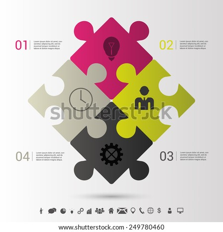 Modern puzzle infographics business concept. Vector - stock vector