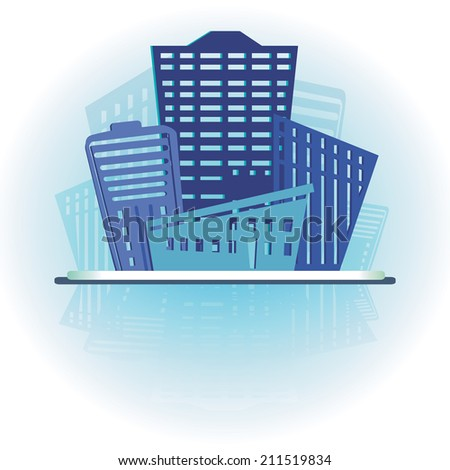 Modern real estate buildings design. Blue sign with place for text. Vector illustration - stock vector