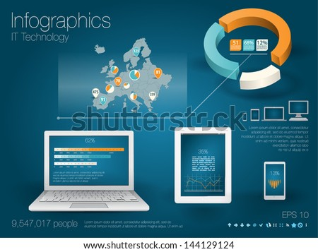 Modern realictic infographics set and icons IT tehnology. Map of Europe and Information Graphics - stock vector