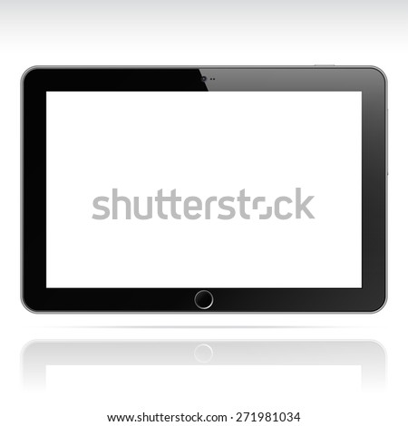 Modern realistic android tablet computer isolated on white background. White blank screen. Vector illustration - stock vector