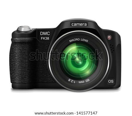Modern realistic photo camera with green lens. Isolated on white background. Vector illustration.