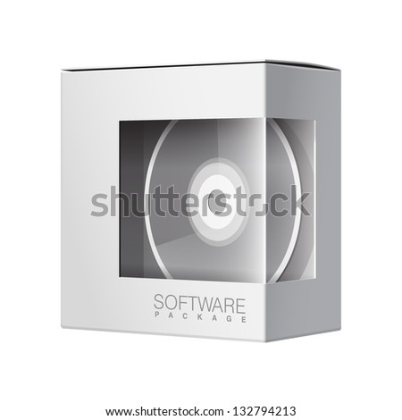 Modern Realistic white Package Cardboard Box with a transparent plastic window. Inside DVD Or CD disk. Vector illustration