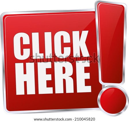 modern red click here sign - stock vector