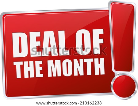 modern red deal of the month sign - stock vector