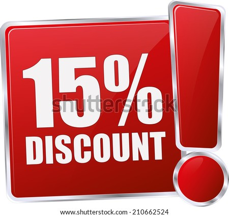 modern red 15% discount sign - stock vector