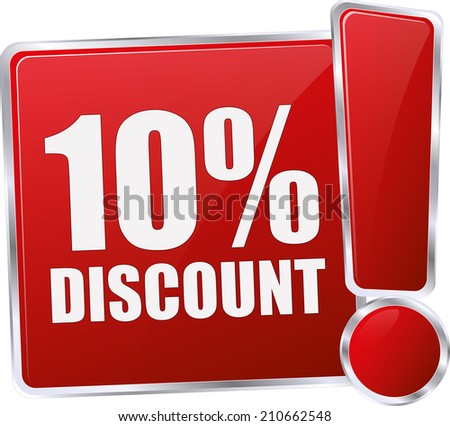 modern red 10% discount sign - stock vector
