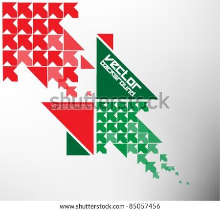 modern red green geometric arrow design - stock vector