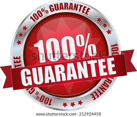 modern red 100% guarantee sign - stock vector