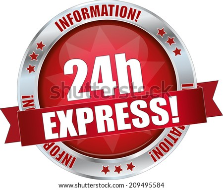 modern red 24h express sign - stock vector