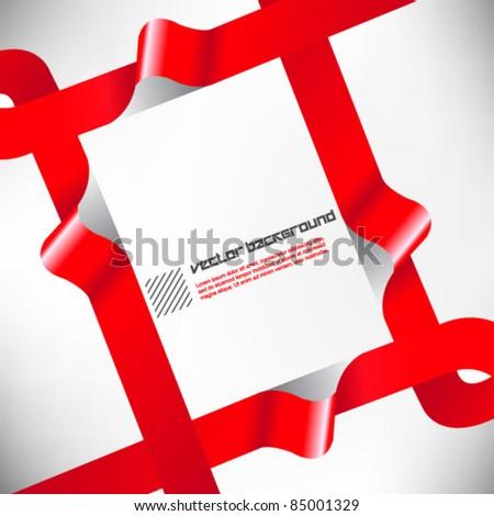 modern red ribbon frame design - stock vector