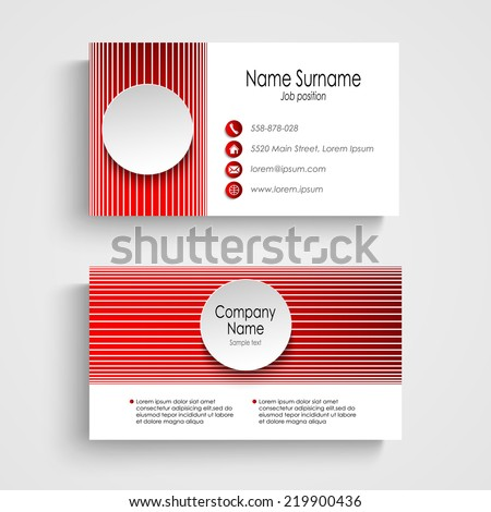 Modern Red Round Business Card Template Stock Vector - Round business card template