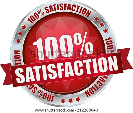 modern red 100% satisfaction sign - stock vector