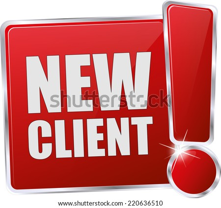 modern red vector eps new client sign - stock vector