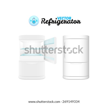 Modern refrigerator isolated on white background, vector illustration - stock vector