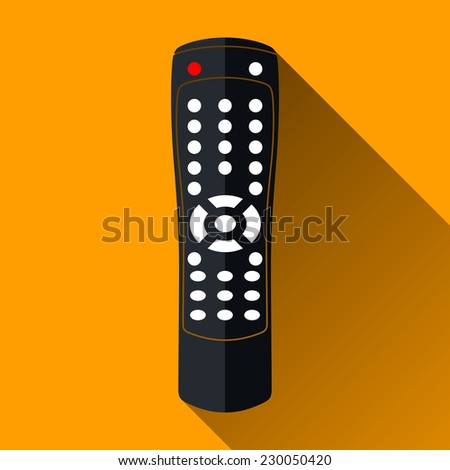 Modern Remote Control Icon, Long Shadow Design, Vector Illustration - stock vector