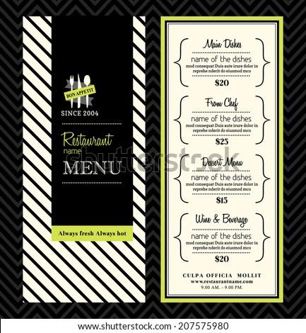 Modern Restaurant Menu Design - stock vector