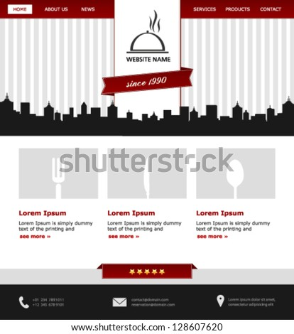 modern restaurant  website template in red, grey and black - stock vector