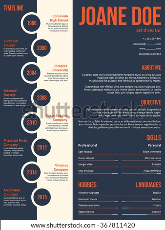 Modern resume cv curriculum vitae template beginning with timeline - stock vector