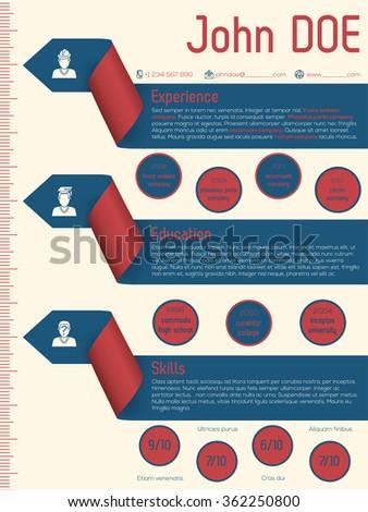 Modern resume cv curriculum vitae template design with arrow ribbons - stock vector